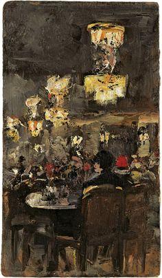 Caféhausszene - Öl auf Malkarton - Werke - Lesser Ury - Künstler ...