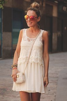 Teen Vogue, MY SHOWROOM, lace dress, sheinside dress, mirror sunglases