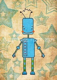 Blue Robot Art Print - Nursery art prints, baby nursery, nursery decor, nursery wall art, kids art