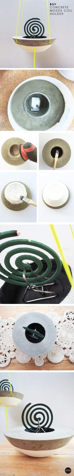 DIY mozzie Coil Holder made from concrete. Genius, love the hanging option…