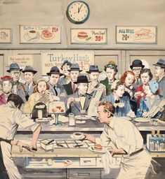 'Impatience At The Counter' by Stevan Dohanos (American- 1907-1994) : Original…