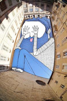 >painting the sky Artist: ROOTS ART Photographie illustration City: Hamburg Sent by Lamadieu Thomas — com Patrick Johnson e Steef van Ulzn. Art And Illustration, Illustrations, Ciel Art, Foto Cartoon, Photo Ciel, Art Fantaisiste, City Drawing, Urbane Kunst, Creative Landscape