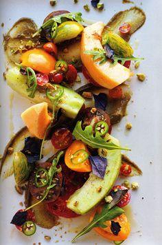 Honeydew Arugula Tomato Basil Salad with Zinfandel Vinaigrette and Pistachio Butter