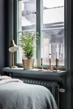Candle holders in the window bedroom inspo grey, blue bedroom, bedroom deco Bedroom Inspo Grey, Room Inspiration, Interior Inspiration, Home Bedroom, Bedroom Decor, Deco Paris, Window Sill Decor, Interior And Exterior, Interior Design