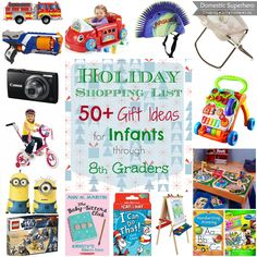 Holiday Shopping List 50+ Gift Ideas for Infants through 8th Graders (part 1)