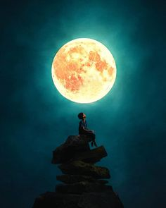 Fantastic Photomanipulations by Ronald Ong Alone Boy Wallpaper, Boys Wallpaper, Couple Wallpaper, Galaxy Wallpaper, Nature Wallpaper, Moonlight Photography, Moon Photography, Creative Photography, Moon Pictures