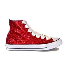1895d1292df Women s Sparkly Red Glitter Converse All Stars High Top Wedding Bride Prom Shoes  sneakers