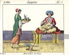 Mamluk woman in turban seated on a cushion smoking a long tobacco pipe being served by a waitress. In Cairo, Egypt. Handcoloured lithograph from Friedrich Wilhelm Goedsche's Vollstaendige Völkergallerie in getreuen Abbildungen (Complete Gallery of Peoples in True Pictures) Meissen circa 1835-1840. Goedsche (1785-1863) was a German writer bookseller and publisher in Meissen. Many of the illustrations were adapted from Bertuch's Bilderbuch fur Kinder and others. circa 1835-1840.