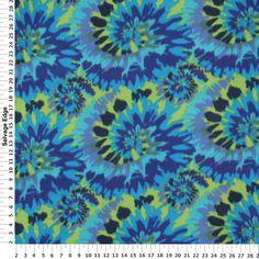 Fleece - Blue and Green Tie Dye Fleece Fabric