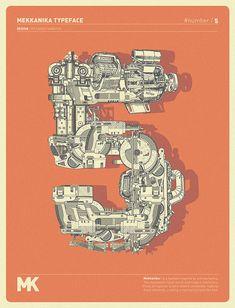 """MEKKANIKA Typeface detail """"5"""" by Riccardo Sabatini"""