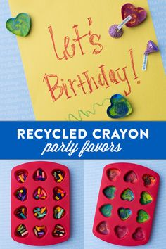 Recycled Crayon Party Favors — Want to add something unique to your goodie bag? Reuse broken crayons by turning them into the most colorful part of your goodie bag! Remove the labels, and break the crayons into small pieces. Place the crayons in oven-safe molds (feel free to combine colors!). Bake at 275 degrees for 10 minutes, using a toothpick to swirl before the crayons harden. Let's make your child's party the sweetest celebration ever, with HERSHEY'S Birthday candy. Let's Birthday!
