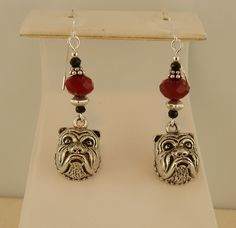 Bulldog earrings beaded with Red opaque rondelle crystals and Jet Black Swarovski Crystal, Georgia Bulldog, UGA by celtictreasures on Etsy