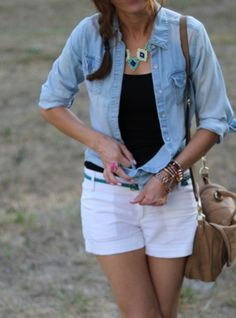 blue chambray shirt statement necklace black tank white shorts