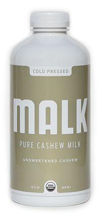 Malk cashew almond milk. Ingredients: Organic Cashews, Himalayan Salt, Filtered Water.