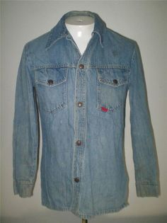Mens Vintage Big Smith Denim Shirt Work Shirt Faded Snap Front Cotton Size Small #BigSmith #Western