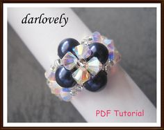 Blue Pearl Crystal Flower Ring