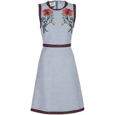 Embroidered linen and cotton dress (€1.590) ❤ liked on Polyvore featuring dresses, gucci, suede shoulder bag, shoulder bag purse, suede handbags, miniature purse and shoulder hand bags