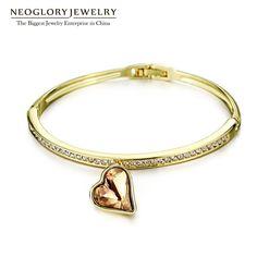 Charm Heart Bangles & Bracelets for Women Austrian Crystal Three Colors Rhinestone Hand Female Jewelry Wholesale
