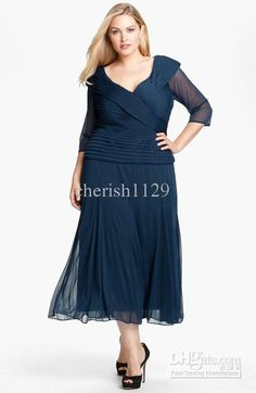 Plus Size Mother of the Bride Dresses Tea Length