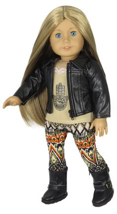 "American Girl Doll Clothes.  Silly Monkey - ""Leather"" Jacket, Hamsa Hand Tank, and Tribal Leggings, $23.99 (http://www.silly-monkey.com/products/leather-jacket-hamsa-hand-tank-and-tribal-leggings.html)"