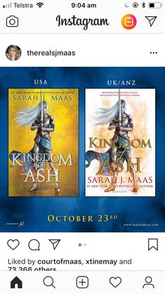 KINGDOM OF ASH cover revealed, can't believe it is all coming to an end soon, TOG is my favourite series