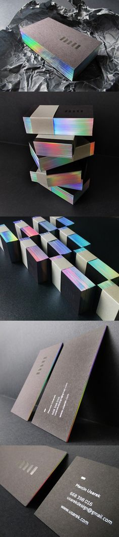 Beautiful Holographic Foil Edge Painted Black Business Card Design