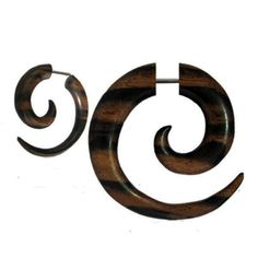 Pair-Fake-Faux-Hand-Carved-BROWN-ROUND-2-TONE-SPIRAL-GAUGES-EARRINGS-Wood-Steel