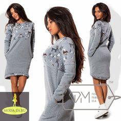 Принтованное тёплое платье асимметричное