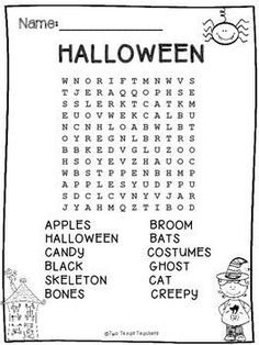 Free Printable I Spy Halloween Activity. Print this fun Halloween I spy game for a classroom party game or church harvest party. Halloween Class Party, Halloween Words, Halloween Crafts For Kids, Holidays Halloween, Halloween Themes, Halloween Worksheets, Halloween Activities, Holiday Activities, Halloween Stuff