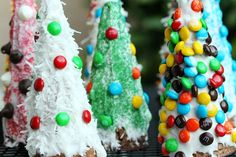 Instead of gingerbread houses Turn ice cream cones into christmas trees  decorate.