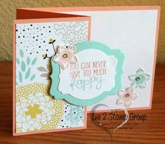Sweet Sorbet Designer Paper tri fold card by Roberta. Fresh and fun color combo with Crisp Cantaloupe and Pool Party! www.PattyStamps.com
