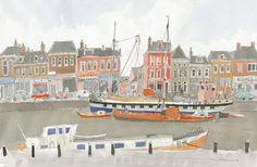 「オランダの花」より『レーワルデンの運河と船』