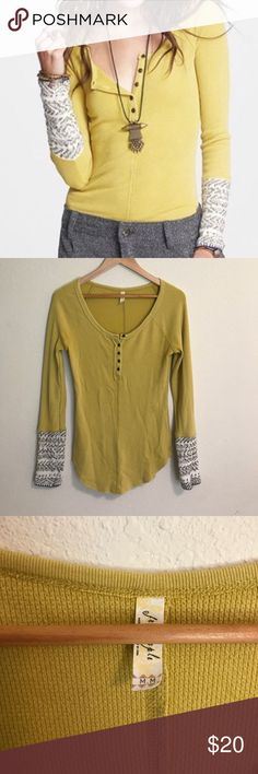 Free people alpine cuff thermal Mustard color thermal with sweater cuffs.  Fits a little longer.  Great condition. Free People Tops Tees - Long Sleeve