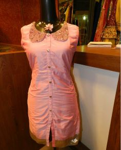 A collared pink tunic...apt for a party where the theme is indo-western.....