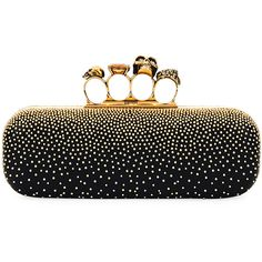 Alexander Mcqueen Knuckle Studded Leather Box Clutch Bag ($2,195) ❤ liked on Polyvore featuring bags, handbags, clutches, black, handbags clutches, studded leather handbags, alexander mcqueen handbags, studded clutches, box clutch and skull handbag