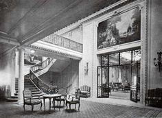 First Class Foyer, SS Bismarck, later Majestic. The ship's architect was the Ecole de Beaux-Arts trained Charles Mewes. His interiors are unmatched in traditional ship-building design.
