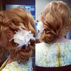 Vintage wedding hair with a flower