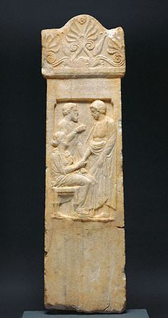 "Marble Gravestone of Thrasynos; Greek, Athens, c. 375 B.C.; 54-3/4"" x 15-1/4"" x 1-1/2""; Getty Museum, Malibu"