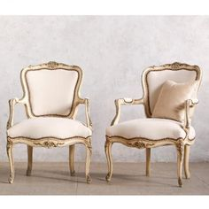 Classic Pair of Vintage Louir XV Style Armchairs $2,635.00 #thebellacottage #shabbychic #eloquence
