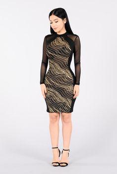 Glowed Up Dress - Gold/Black