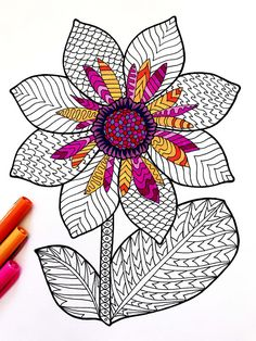 Dahlia - PDF Zentangle Coloring Page