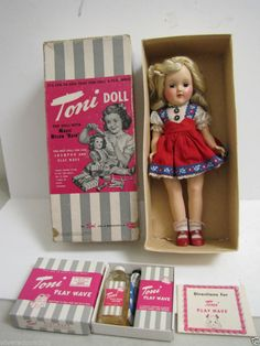 Vintage 1950 Ideal P-90 Magic Hair Toni Doll w/ Box  +Play Wave Set- had this when I was 4.