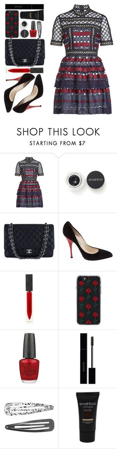 """#1184 Annabella"" by blueberrylexie ❤ liked on Polyvore featuring self-portrait, Smashbox, Chanel, Brian Atwood, Burberry, Zero Gravity, OPI, Gucci and Monki"
