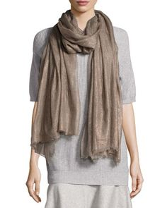 Cashmere Metallic Woven Scarf, Fango by Brunello Cucinelli at Bergdorf Goodman.