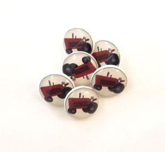 Red Tractor Buttons. 6 SMALL Handmade Buttons. by buttonsbyrobin, $12.50