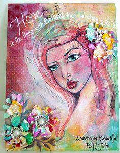 Something Beautiful By Julie: Inked Tyvek Handmade Flowers
