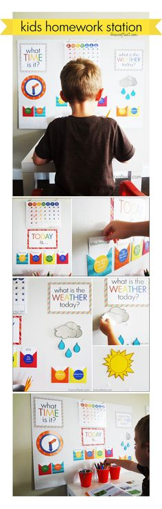 Awesome! Free homework station printables - calendar, telling time, weather chart, etc.