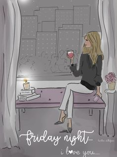 Friday night - I love you ❤ Hello Weekend, Bon Weekend, Hello Friday, Friday Yay, Friday Nights, Happy Friday, Illustration Mode, Illustrations, Rose Hill Designs