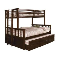 William's Home Furnishing University I Twin and Full Bunk Bed in Dark Walnut - The Home Depot William's Home Furnishing University I Twin & Full Bunk Bed in Dark Walnut finish, Brown Twin Full Bunk Bed, Queen Bunk Beds, Triple Bunk Beds, Twin Trundle Bed, Bunk Bed Plans, Twin Xl, Bunk Beds For Sale, Bunk Beds With Storage, Bunk Beds With Stairs
