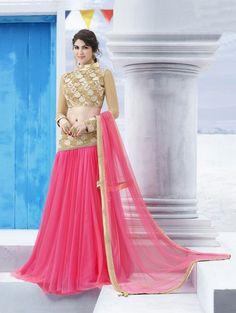 Pink Net Lehenga Choli with Embroidery Work